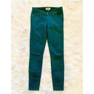 PAIGE Verdugo Ultra Skinny Green Brocade Pants